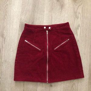 ➰Red corduroy skirt